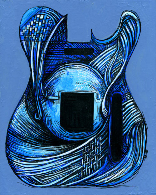 Guitar Painting – Blueberry