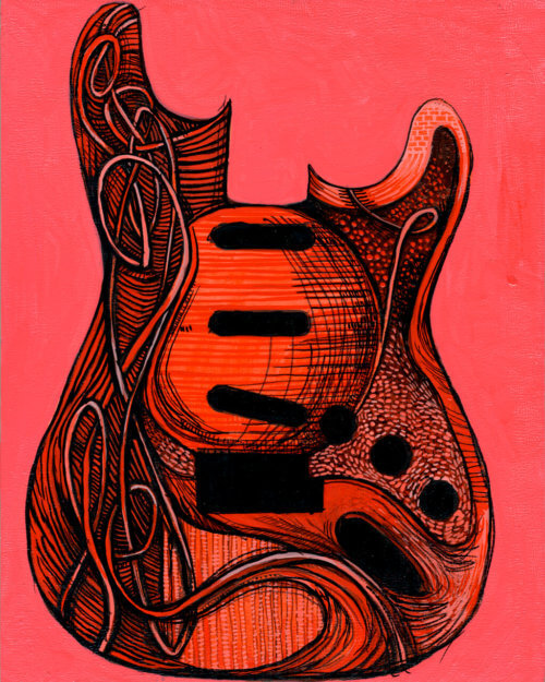 Guitar Painting – Strawberry