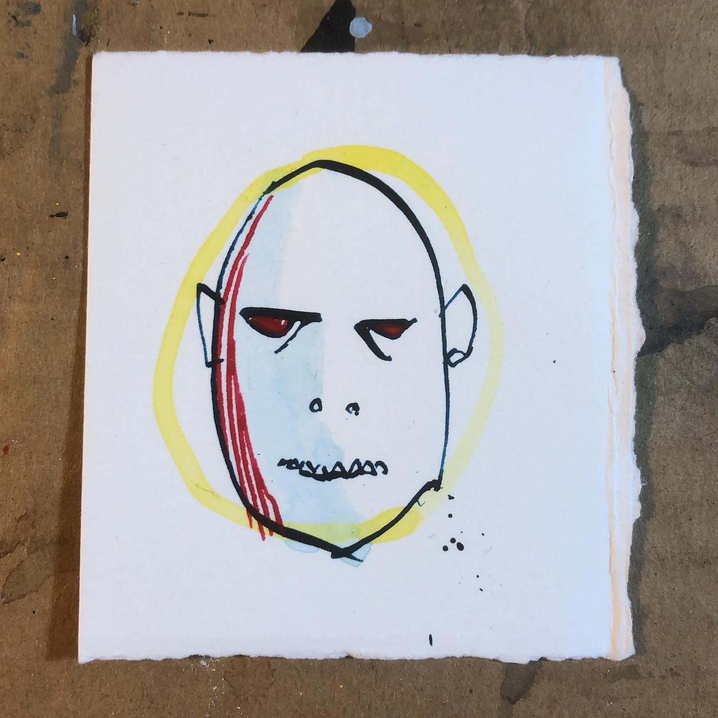 Maskless Man - ink and watercolor drawing