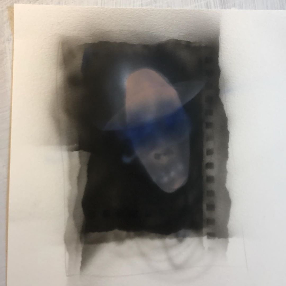 Airbrush painting of head and halo