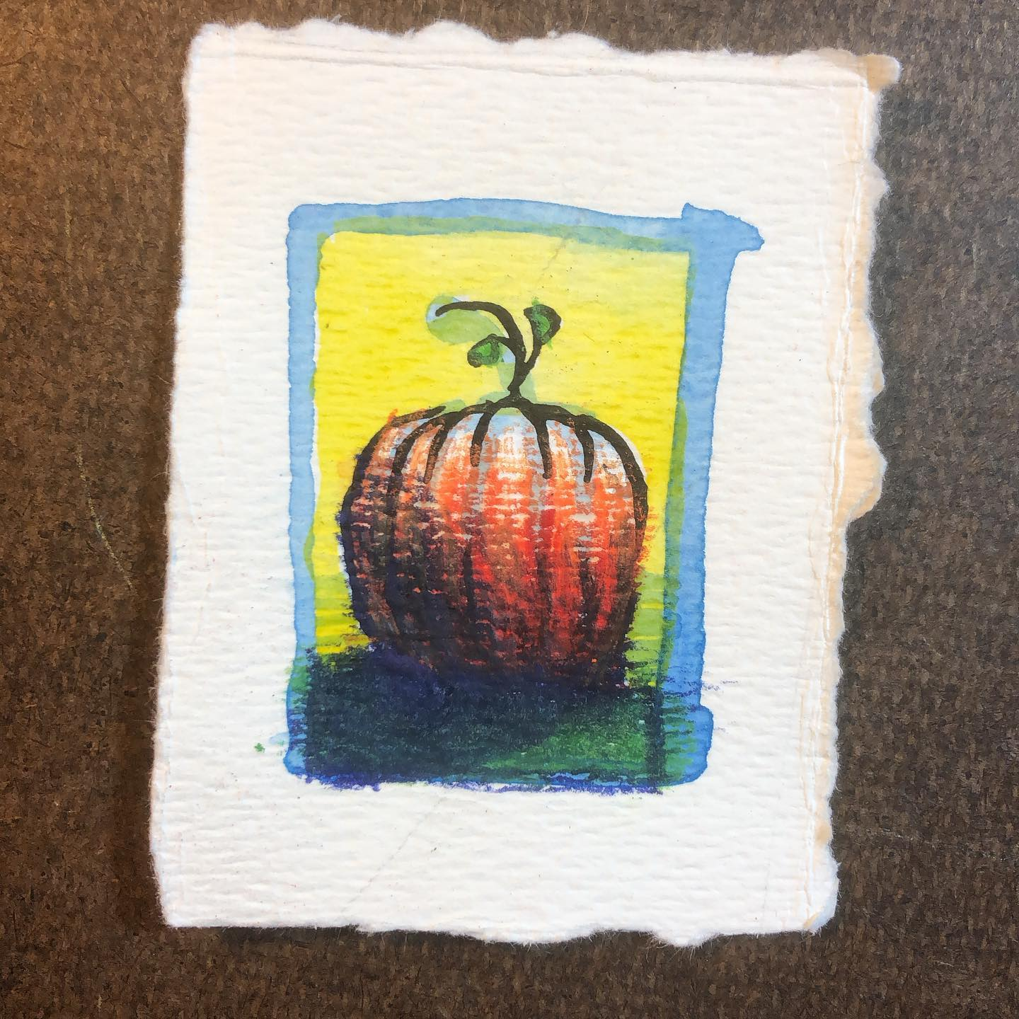 PUMPKIN - ink and watercolor drawing of a pumpkin