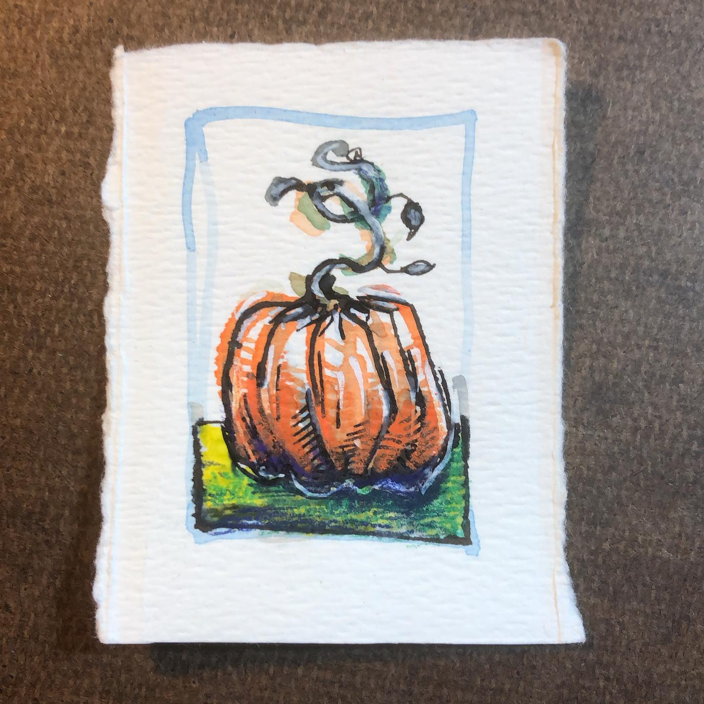 PUNKIN - ink and watercolor drawing of a pumpkin