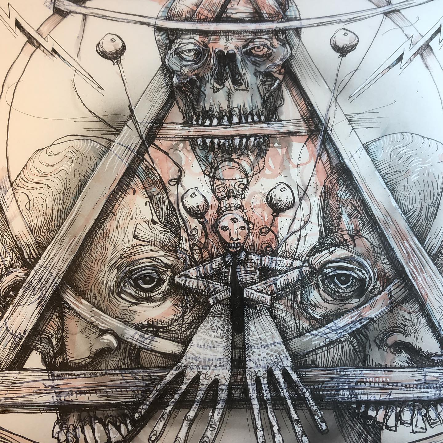 Skull Triangle ink drawing in progress