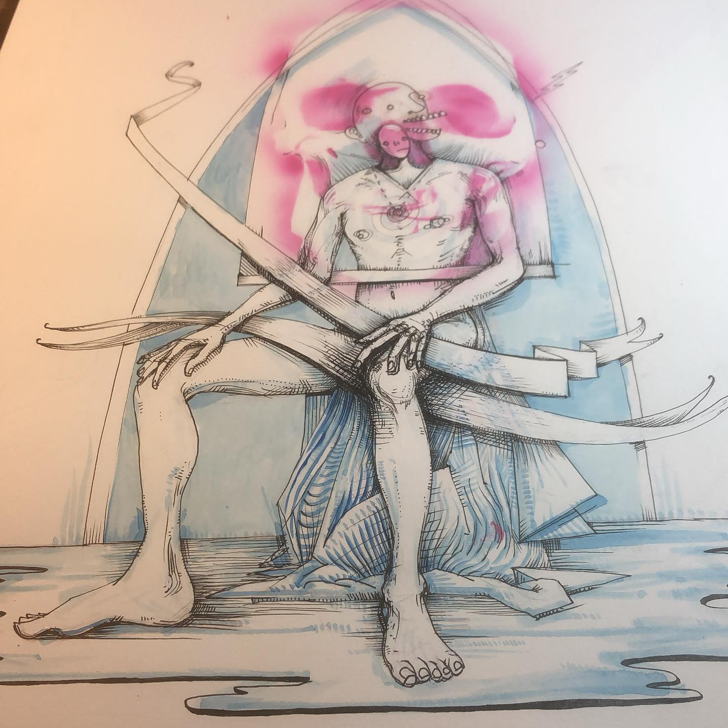 Some Feet - figure drawing with additional ink, airbrush, and watercolor layers in progress