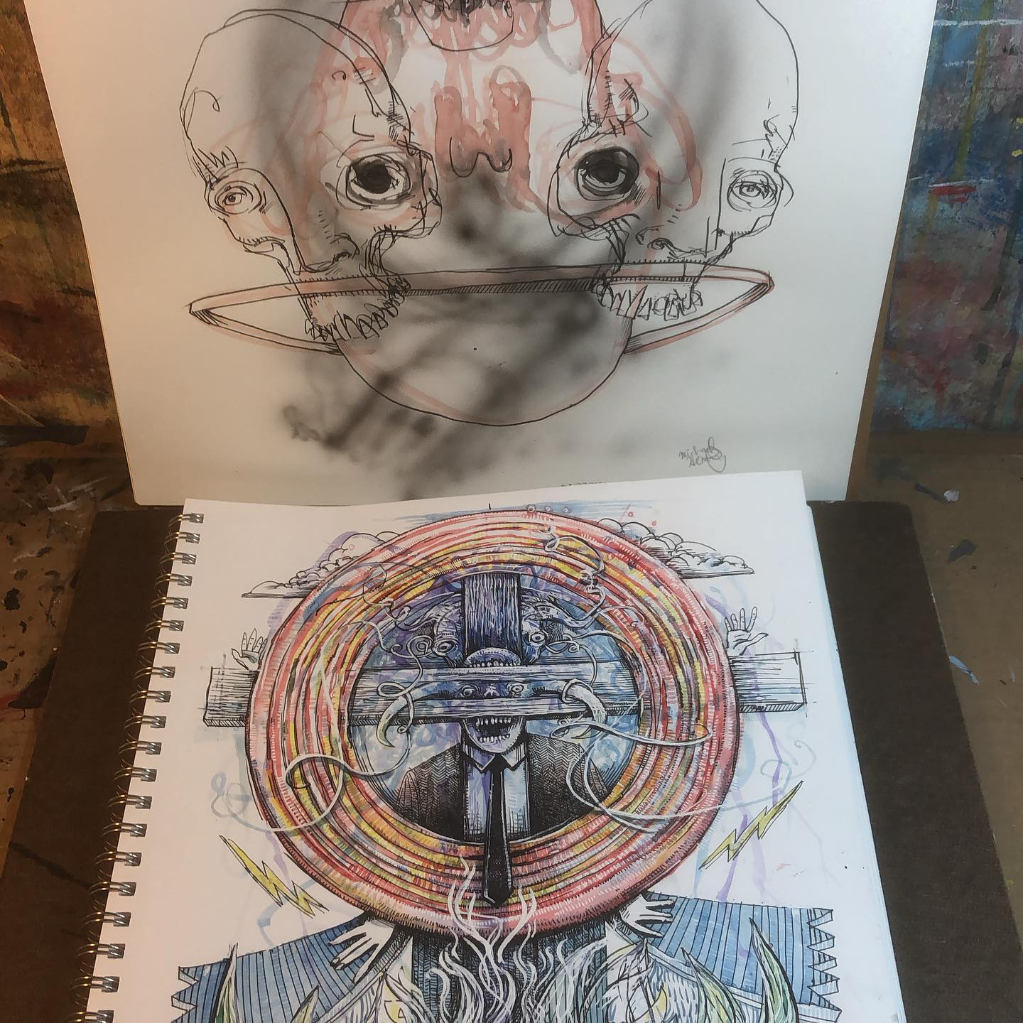 Skull Triangle and Very Untitled - two ink drawings in progress