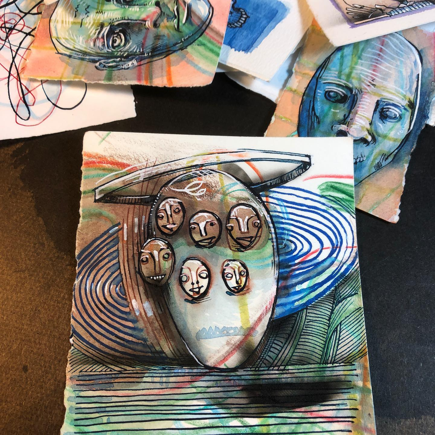 Several Faces - ink, watercolor, colored pencil, airbrush drawings