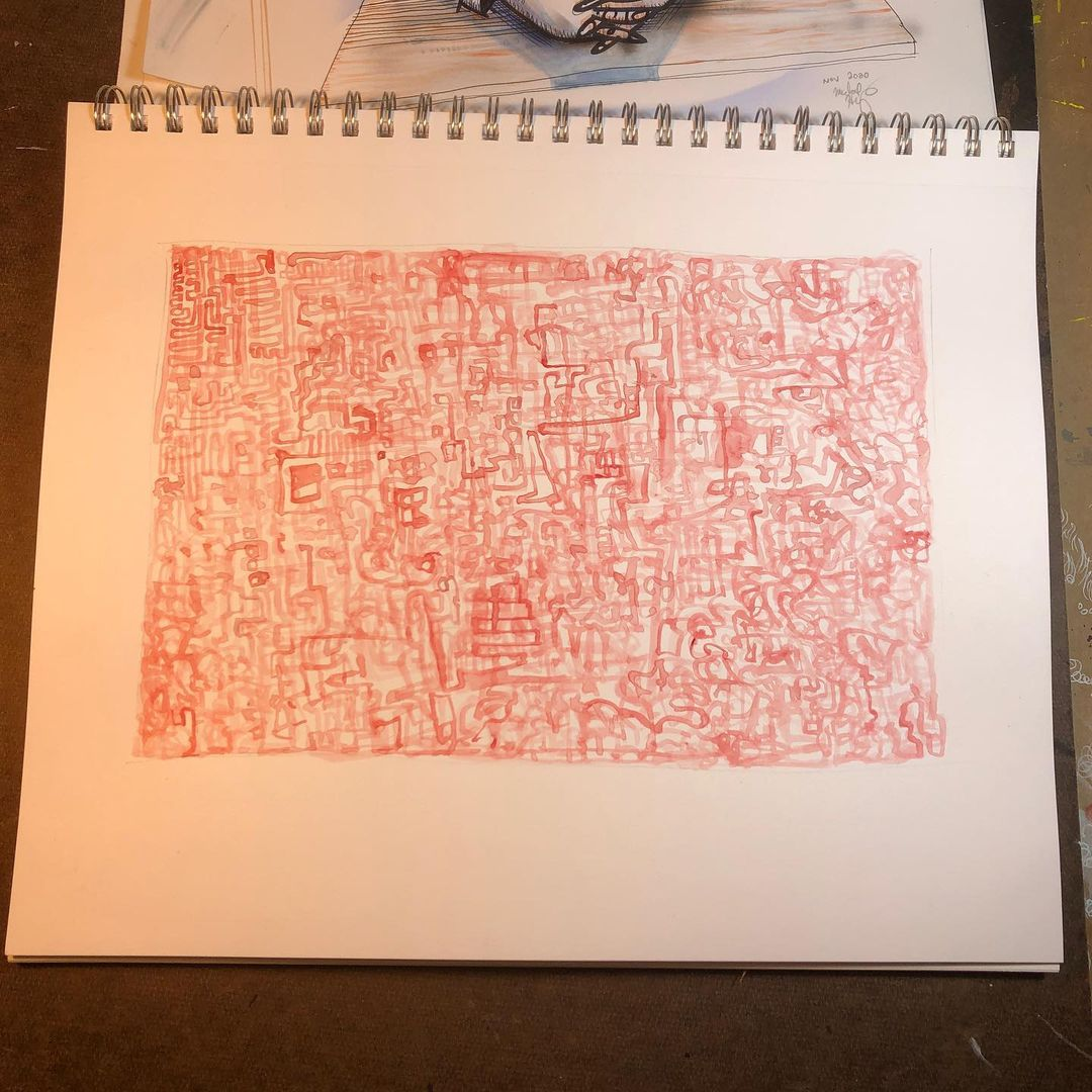 Maze - watercolor drawing of twisted lines in red
