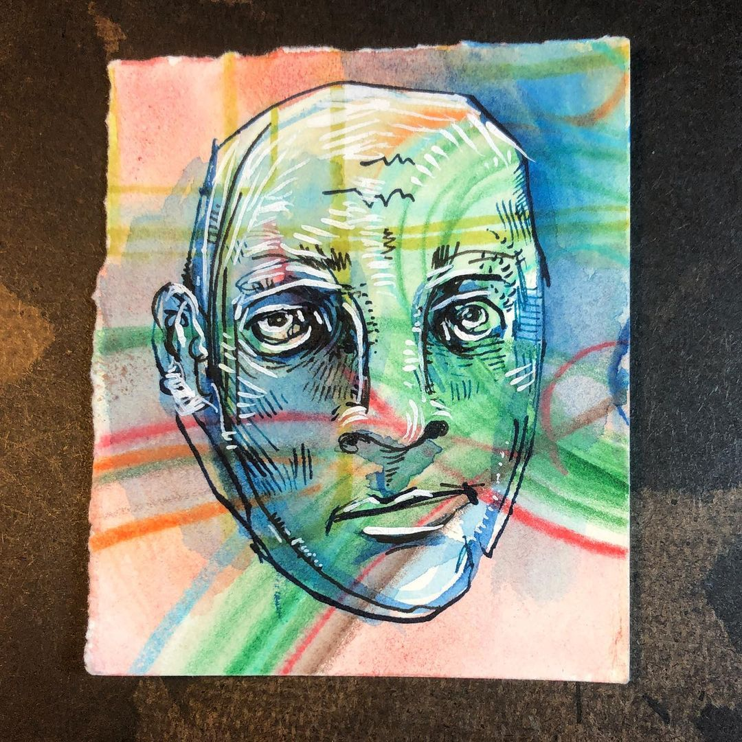 Trippy Man - ink, watercolor, airbrush drawing of a face