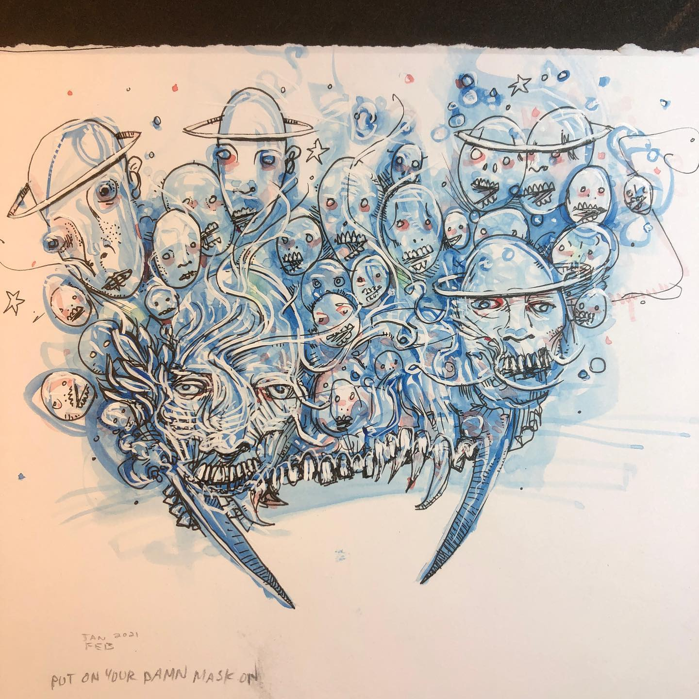 Put On Your Damn Mask On - watercolor and ink drawing of skulls breathing