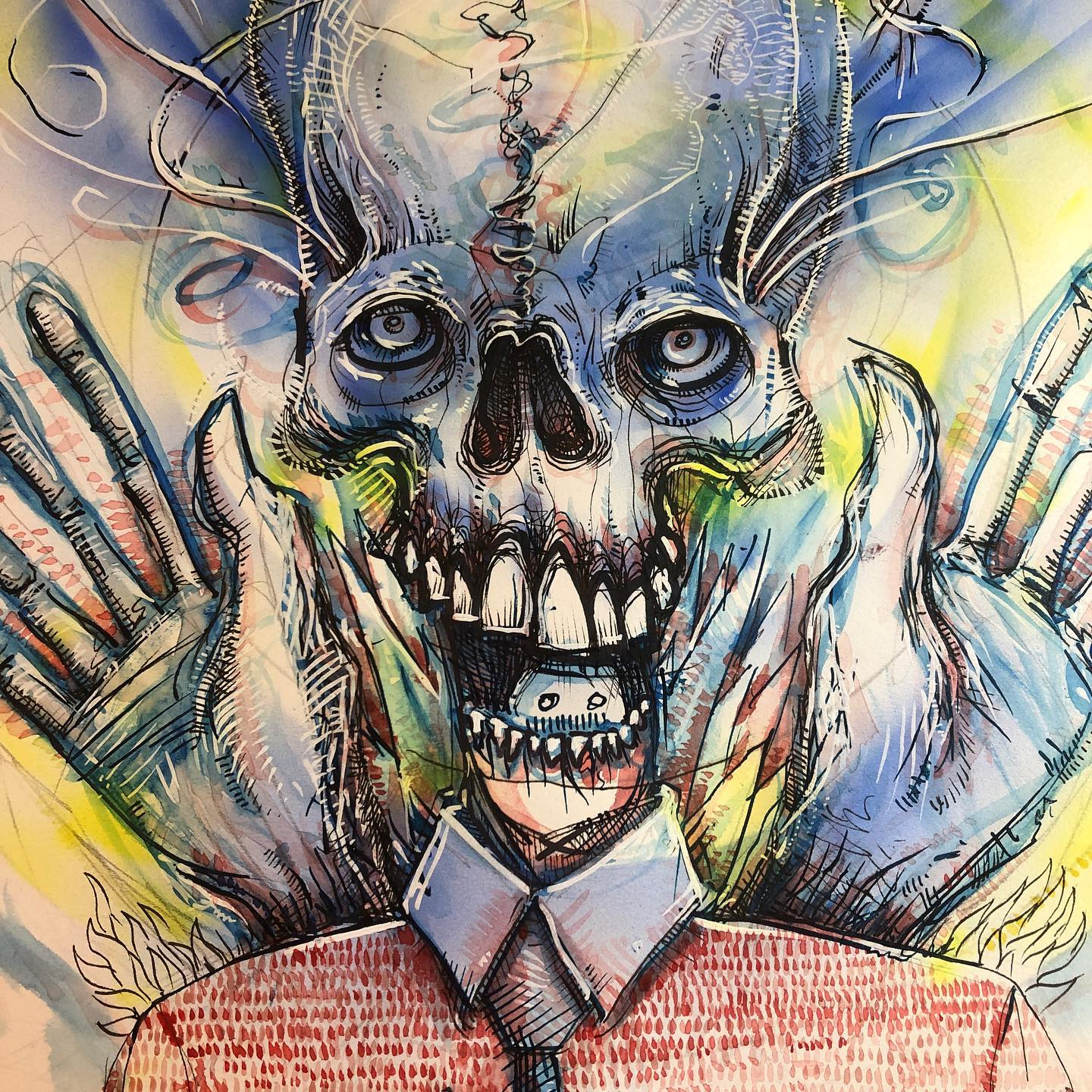 Try To Look Big in progress part 3 - skull and hands ink, watercolor, and airbrush drawing/painting
