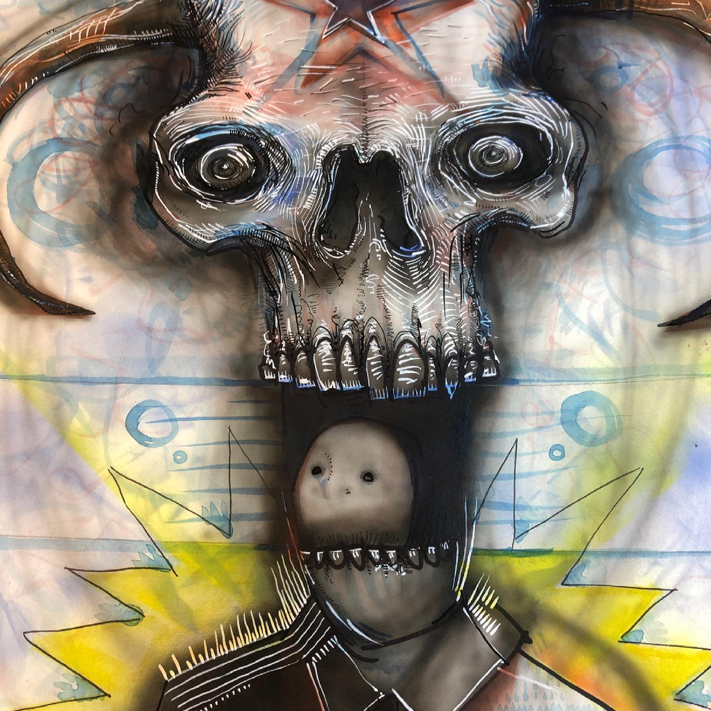 General Dental part two - airbrush, ink, watercolor drawing of a head surrounded by the teeth of a large skull character