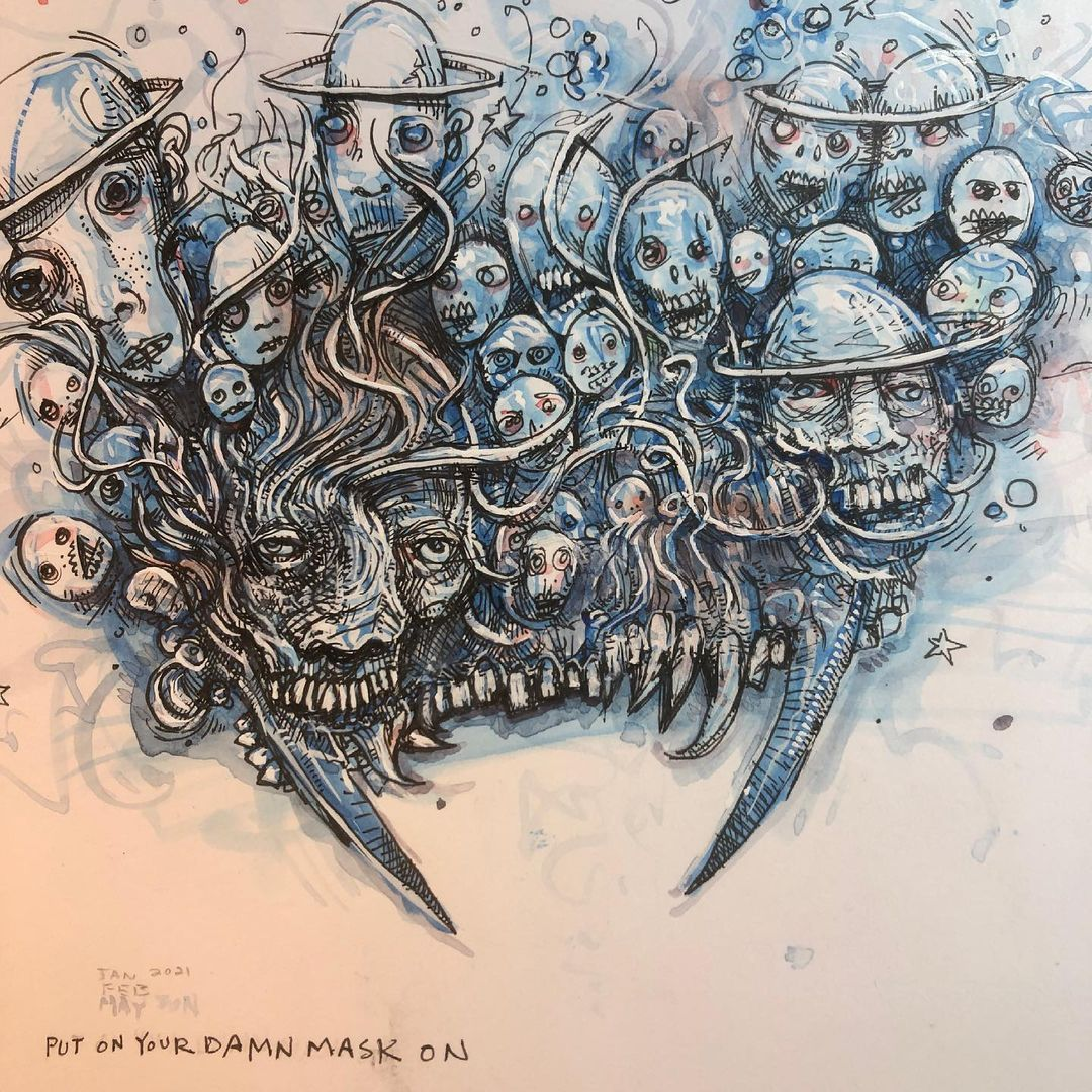 Watercolor and ink drawing of weird faces and skulls