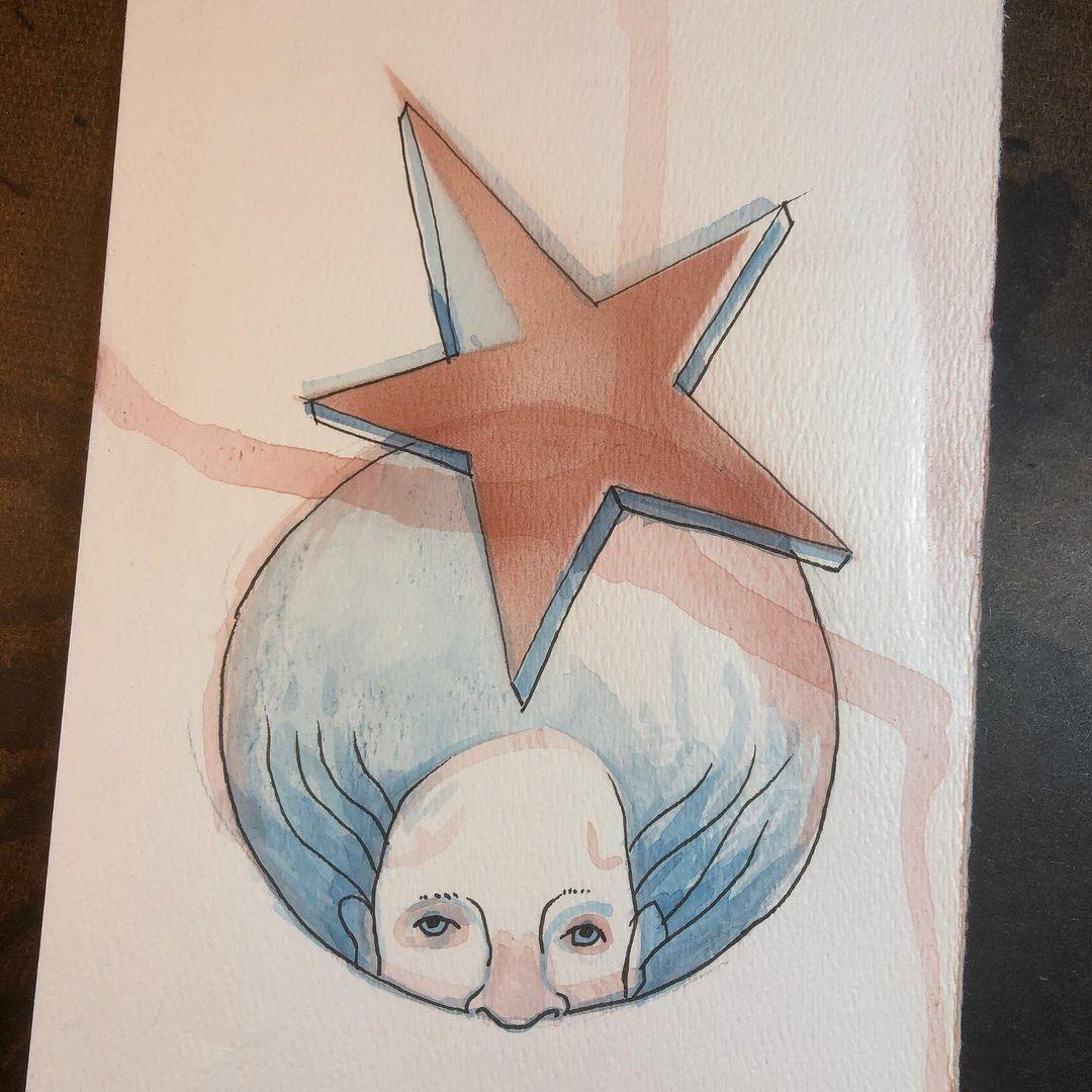 Star circle face - ink and watercolor drawing/painting