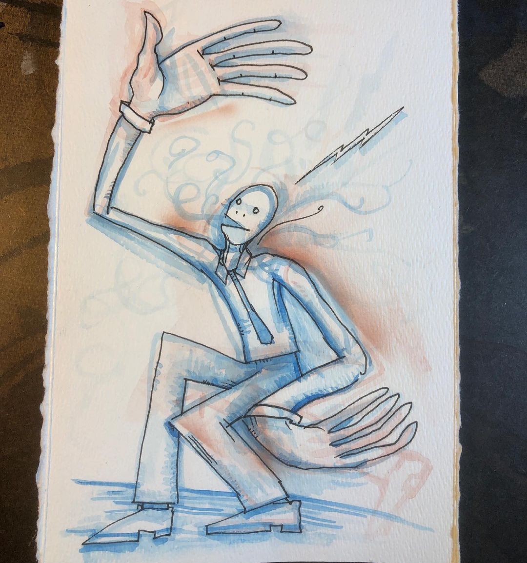 Subtle Dance Move - ink and watercolor drawing/painting