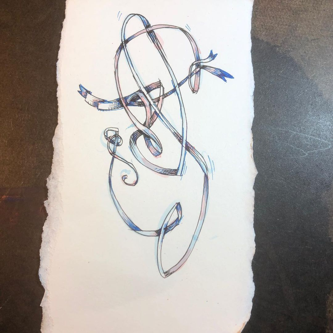 Two Wrangled Ribbons - ink and watercolor drawing/painting