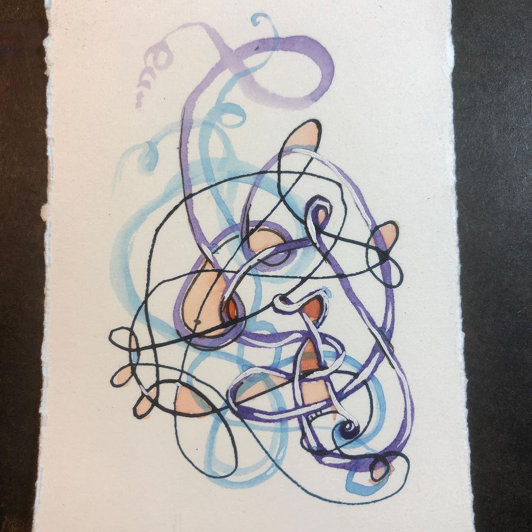 Sophisticated Squiggle ink and watercolor drawing