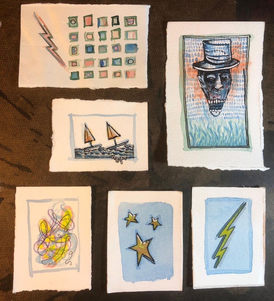 Tiny watercolor/ink drawings