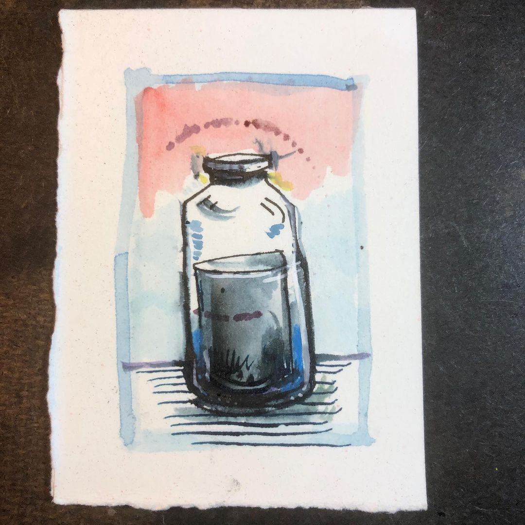 The Door is A Jar - ink and watercolor drawing