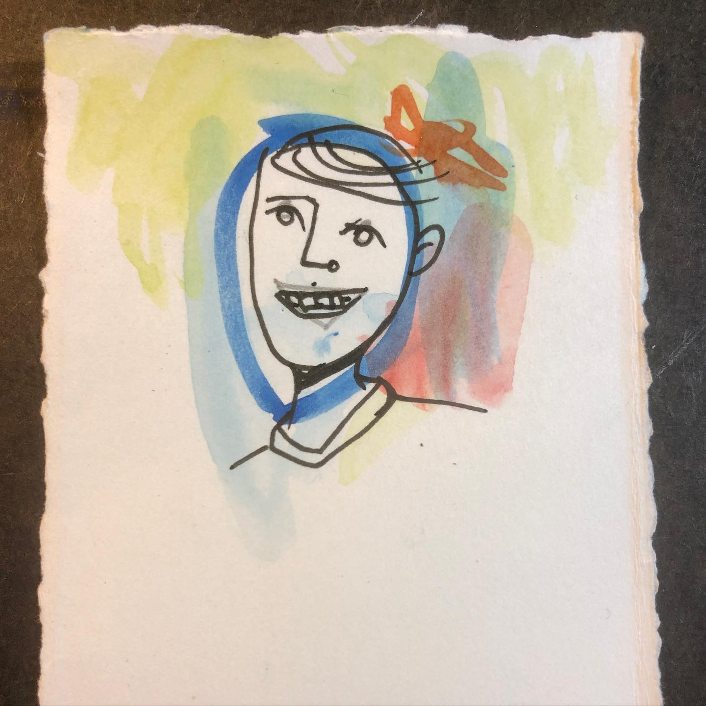 Happy Dude - watercolor and ink drawing