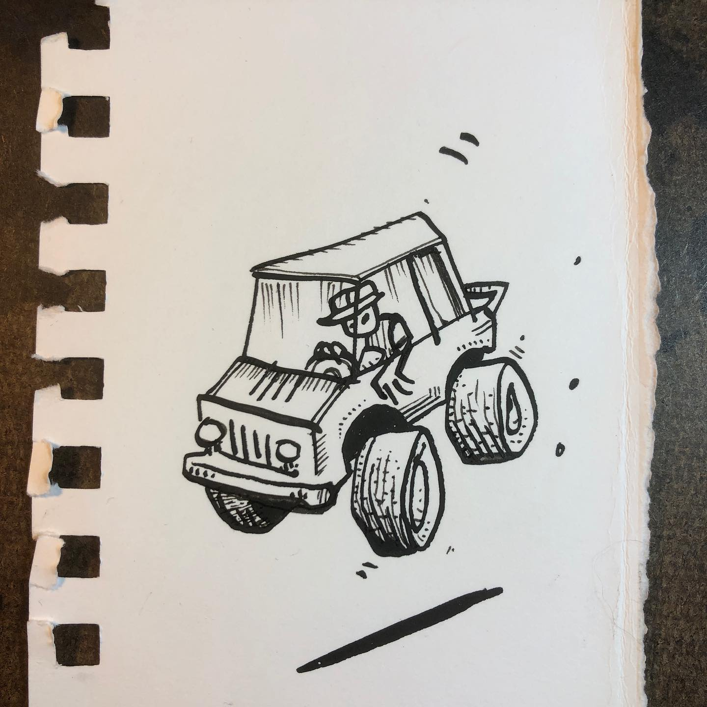 """Ink Drawing - """"Bouncing Truck"""""""