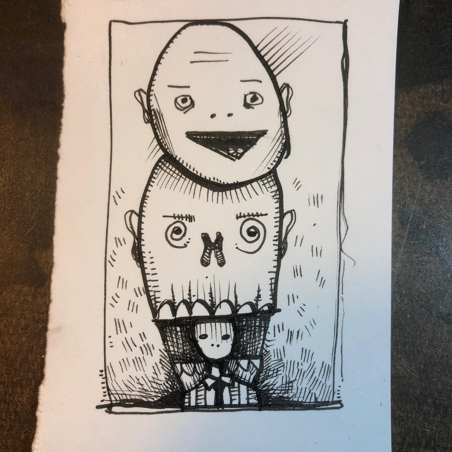 Ink Drawing - Stack o' Faces